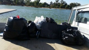 Rubbish collected by the senior kayakers