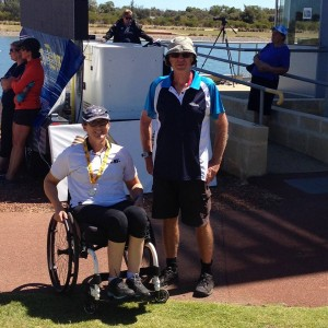 CLBC gold medallist Kathy Mallory and her training buddy support person Allan Mumford.